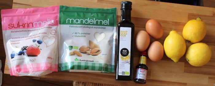 Ingrédients pour la tarte au citron sans sucre et sans beurre
