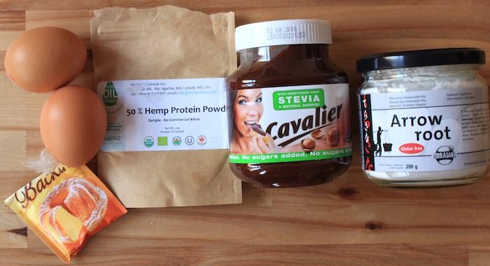 Ingredients pour mon gateau low-carb gout Nutella