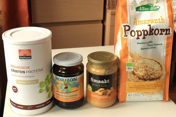 Ingrédients pour les barres à l'amarante soufflée