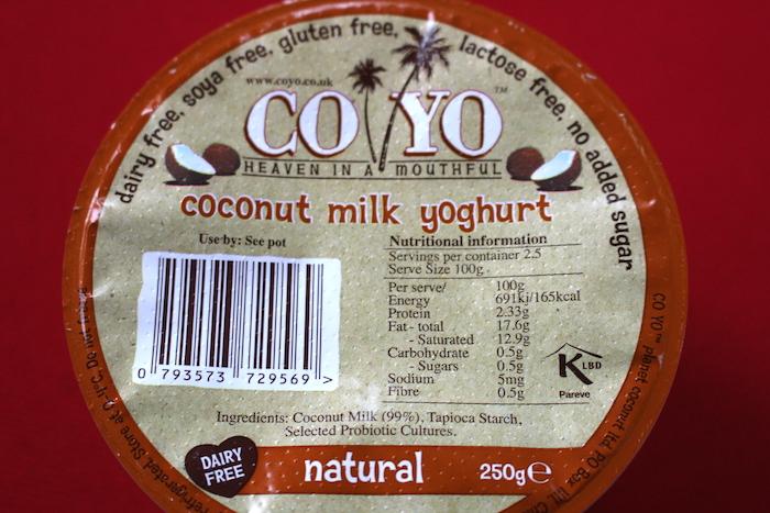 Informations nutritionnelles du yaourt de coco