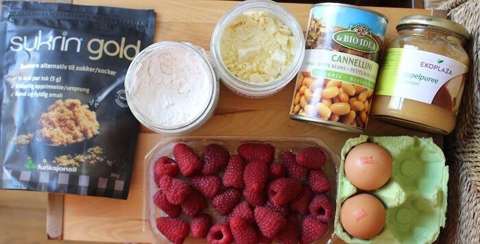 Ingrédients pour les blondies sans sucre aux haricots blancs