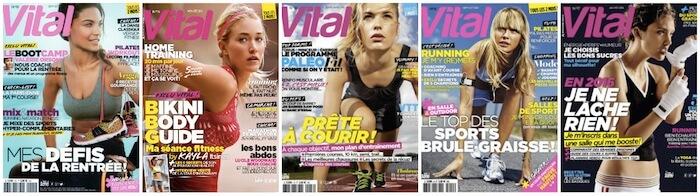 Couvertures du magazine féminin fitness Vital