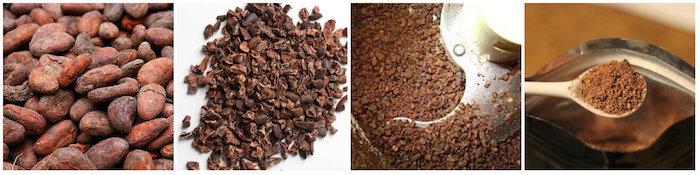 Fèves de cacao moulues pour boisson chaude