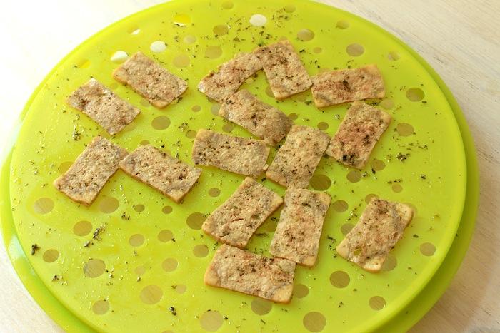 Chips de tofu cuites après 10 minutes
